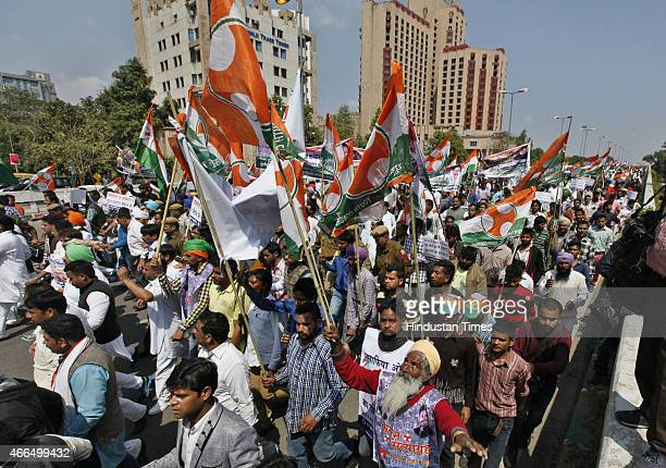 The Youth Congress party workers heading towards Jantar Mantar for Congress Rally against land acquisition bill Near ITO on March 16 2015 in New...