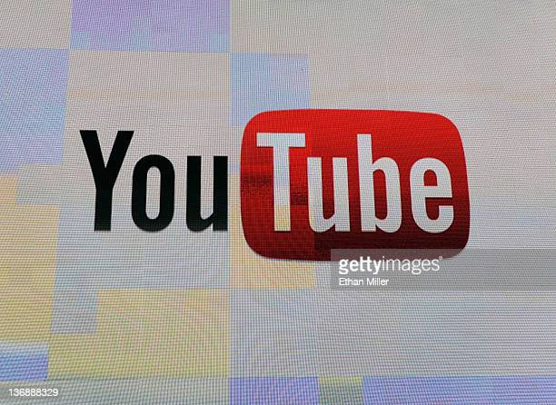 The YouTube logo appears on screen before a keynote address by Vice President of Global Content Partnerships at YouTube Robert Kyncl at the 2012...