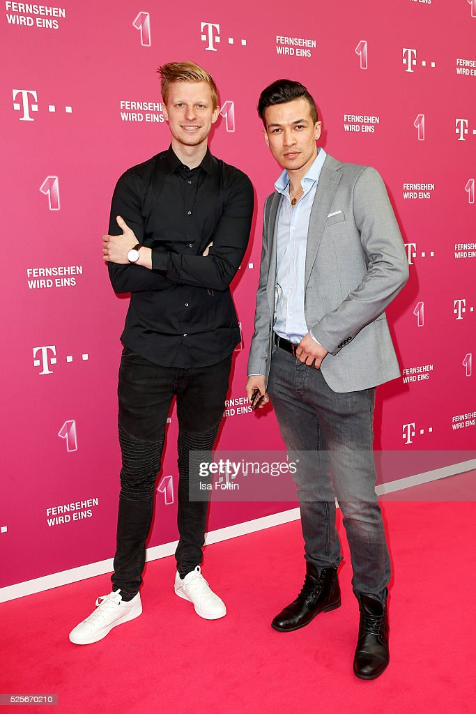 The youtubers Stephan Gerick and Cheng Loew attend the Telekom Entertain TV Night at Hotel Zoo on April 28, 2016 in Berlin, Germany.