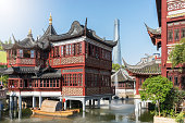 The Yu Yuan district, the old town of Shanghai, on a sunny day, China