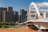 The Yuantong Bridge over the Yellow River in Lanzhou (China)