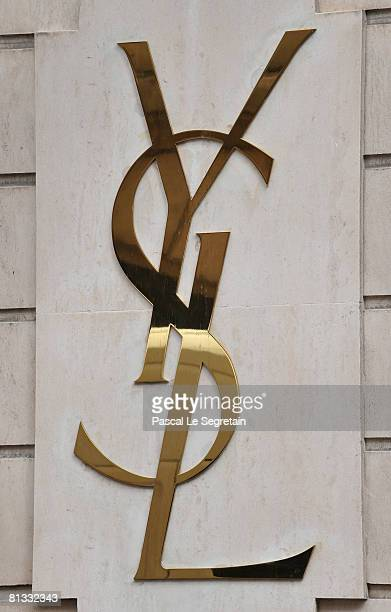 The Yves Saint Laurent Logo is displayed on the Pierre Berge Yves Saint Laurent foundation facade following the death of Fashion designer Yves Saint...
