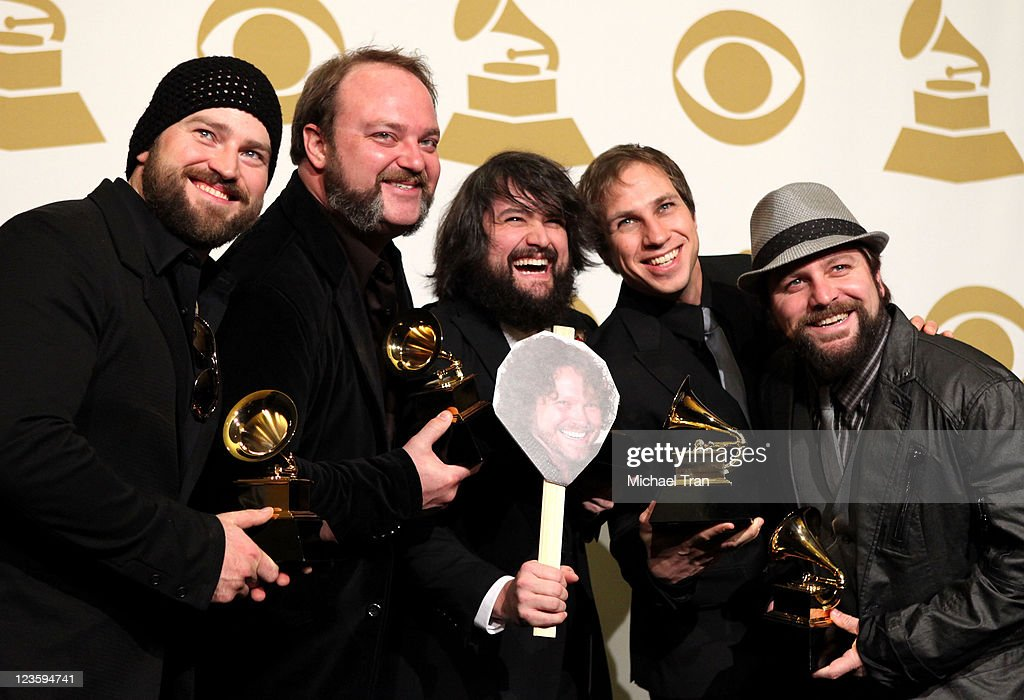The <a gi-track='captionPersonalityLinkClicked' href=/galleries/search?phrase=Zac+Brown+Band&family=editorial&specificpeople=5796430 ng-click='$event.stopPropagation()'>Zac Brown Band</a> poses in the press room at The 53rd Annual GRAMMY Awards held at Staples Center on February 13, 2011 in Los Angeles, California.