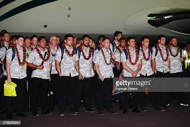 The Zealand All Blacks are welcomed at Faleolo Airport on July 6 2015 in Apia Samoa