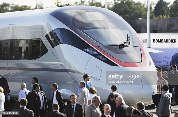 The 'Zefiro' high speed train of the Canadian train maker Bombardier is on display at the 'InnoTrans 2010' fair in Berlin September 22 2010 The...