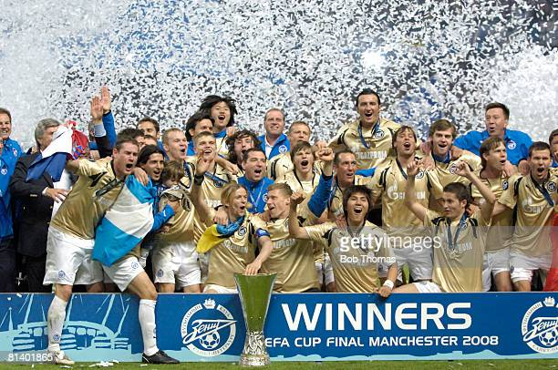 The Zenit St Petersburg team celebrate victory after the UEFA Cup Final between Zenit St Petersburg and Glasgow Rangers held in Manchester England on...