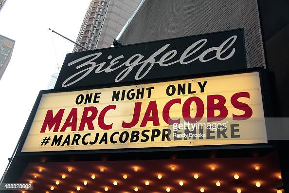 The Zigfeld Marquee for the Marc Jacobs Runway Spring 2016 New York Fashion Week The Shows at Ziegfeld Theater on September 17 2015 in New York City