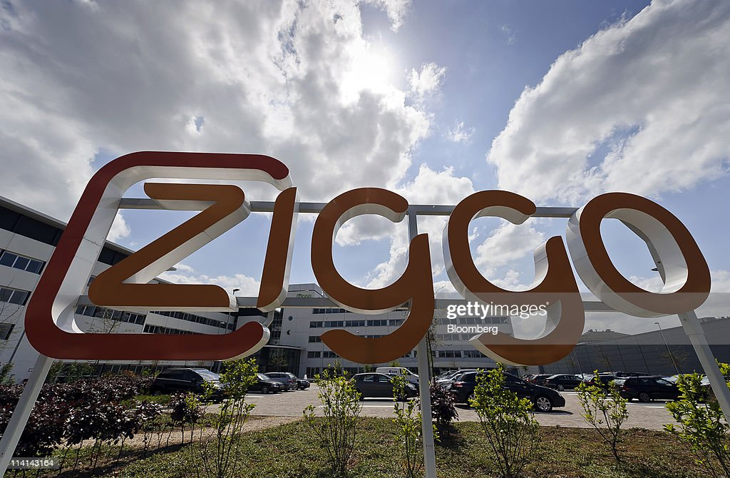 The Ziggo BV logo sits outside the company headquarters in Utrecht ...