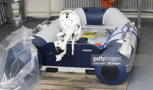The Zodiac inflatable boat at Littlehampton Police Station in West Sussex which Alan Watkins 50 from London took to sea yesterday A toddler was found...