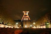 german shaft tower by night (Essener Zeche Zollverein)