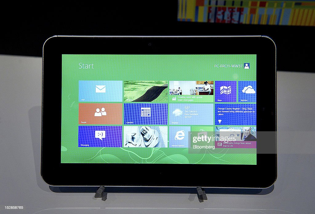 The ZTE Corp. tablet computer is arranged played for a photograph during an event in San Francisco, California, U.S., on Thursday, Sept. 27, 2012. Intel Corp.'s delayed delivery of software that conserves computer battery life is holding up the development of some tablets running the latest version of Microsoft Corp.'s flagship Windows operating system, a person with knowledge of the matter said. Photographer: David Paul Morris/Bloomberg via Getty Images