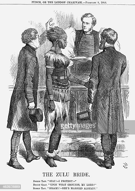 'The Zulu Bride' 1868 This cartoon refers to Basutoland a landlocked country in South Africa Tait Bishop of London and Bishop Robert Gray discuss the...