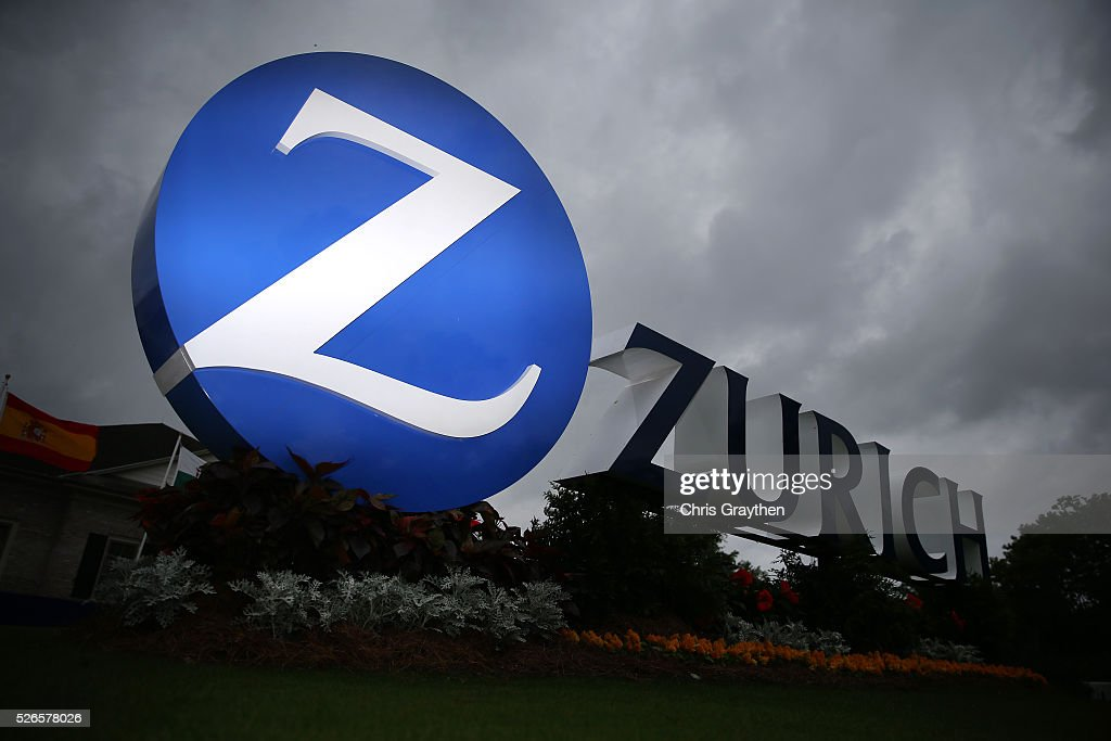 The Zurich sign is seen as inclement weather approaches during the third round of the Zurich Classic at TPC Louisiana on April 30, 2016 in Avondale, Louisiana.