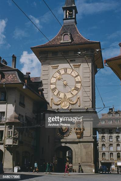 The Zytglogge a medieval clock tower in Bern Switzerland circa 1965