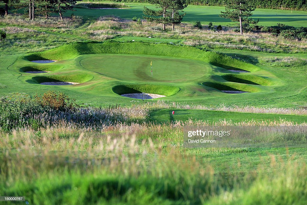 The161 yards par 3 9th hole 'Wembley' at The Royal Cromer Golf Club on July 25 in Cromer Norfolk England