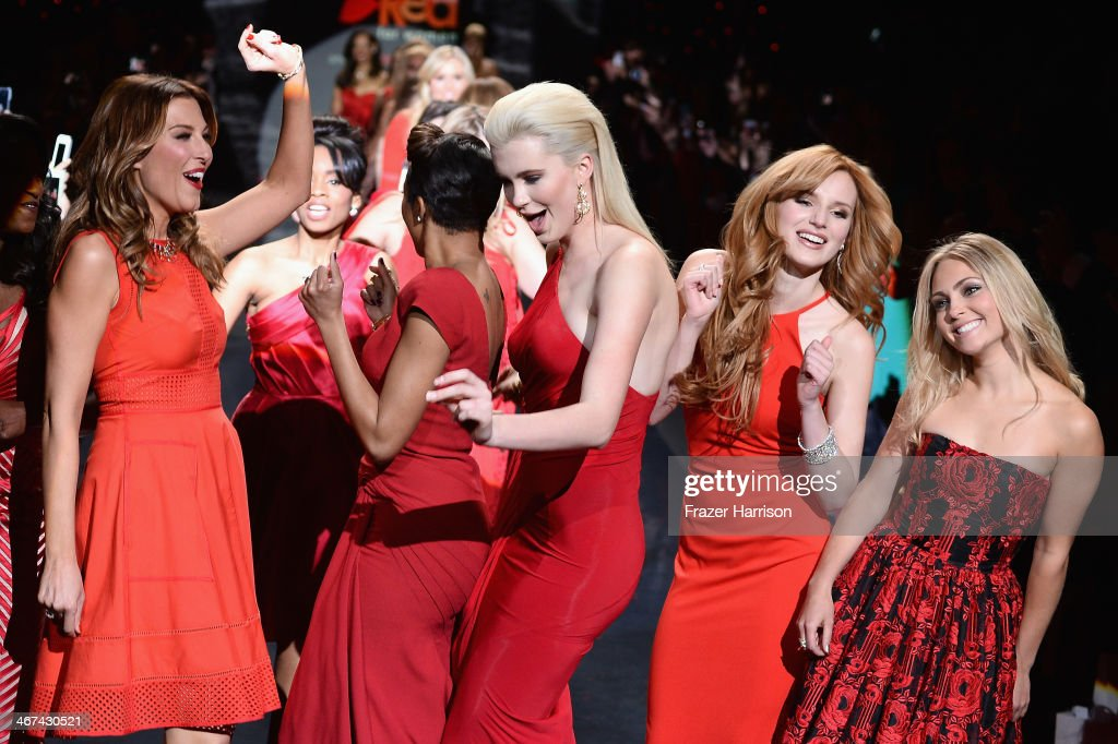 Thea Andrews, Alicia Quarles, Ireland Baldwin, Bella Thorne and AnnaSophia Robb walk the runway at Go Red For Women - The Heart Truth Red Dress Collection 2014 Show Made Possible By Macy's And SUBWAY Restaurants at The Theatre at Lincoln Center on February 6, 2014 in New York City.