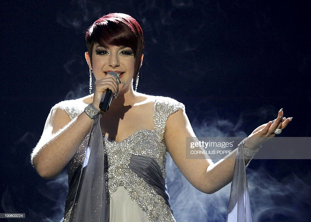 Thea Garrett from Malta performs the song 'My Dream' during the semi-finals of the Eurovision Song Contest in Telenor Arena in Baerum, Norway, on May 25, 2010. The 55th Eurovision Song Contest finale will take place on May 29 in the Telenor Arena in Oslo, after Norwegian Alexander Rydbak took the top prize in Moscow last year with his song 'Fairytale'. AFP PHOTO/SCANPIX/Cornelius Poppe ==NORWAY