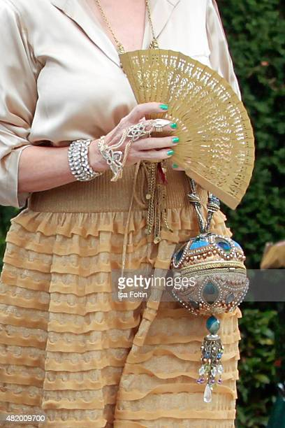Thea Gottschalk jewelry fan and bag detail during the Bayreuth Festival 2015 Opening on July 25 2015 in Bayreuth Germany