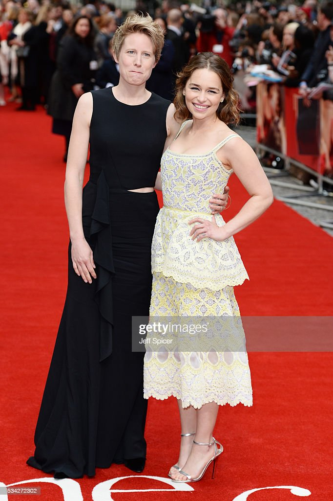 Thea Sharrock and Emilia Clarke attend the European film premiere 'Me Before You' at The Curzon Mayfair on May 25, 2016 in London, England.
