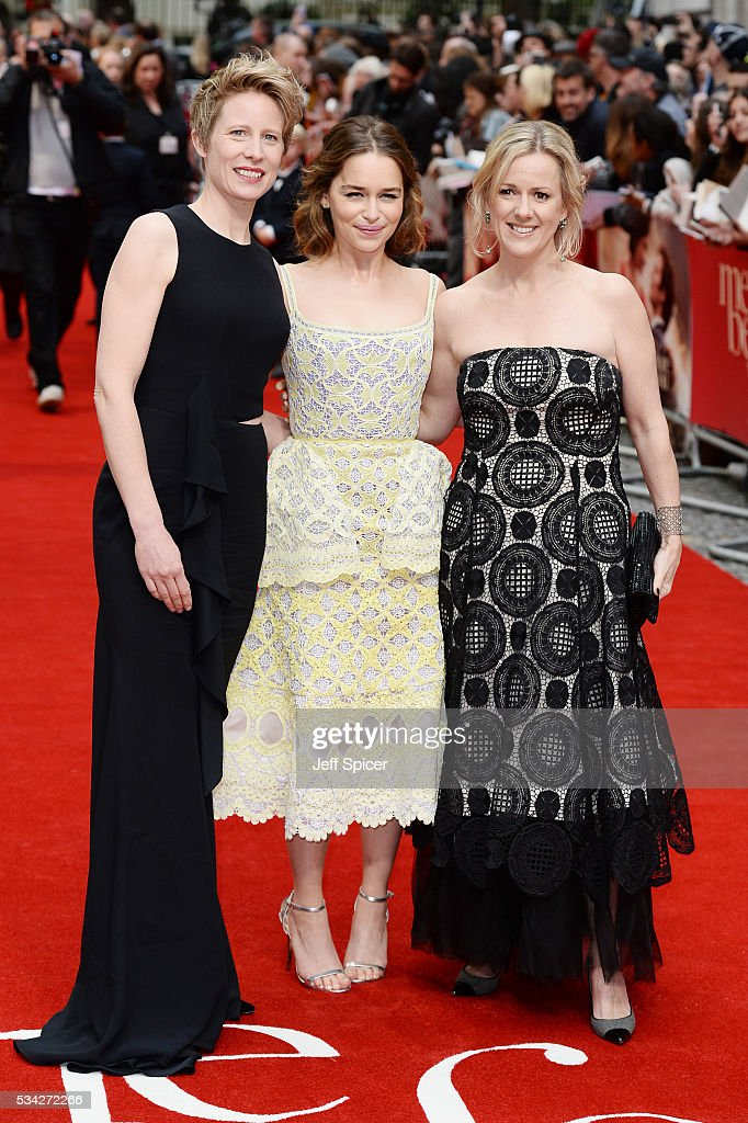 Thea Sharrock, Emilia Clarke and Jojo Moyes attend the European film premiere 'Me Before You' at The Curzon Mayfair on May 25, 2016 in London, England.