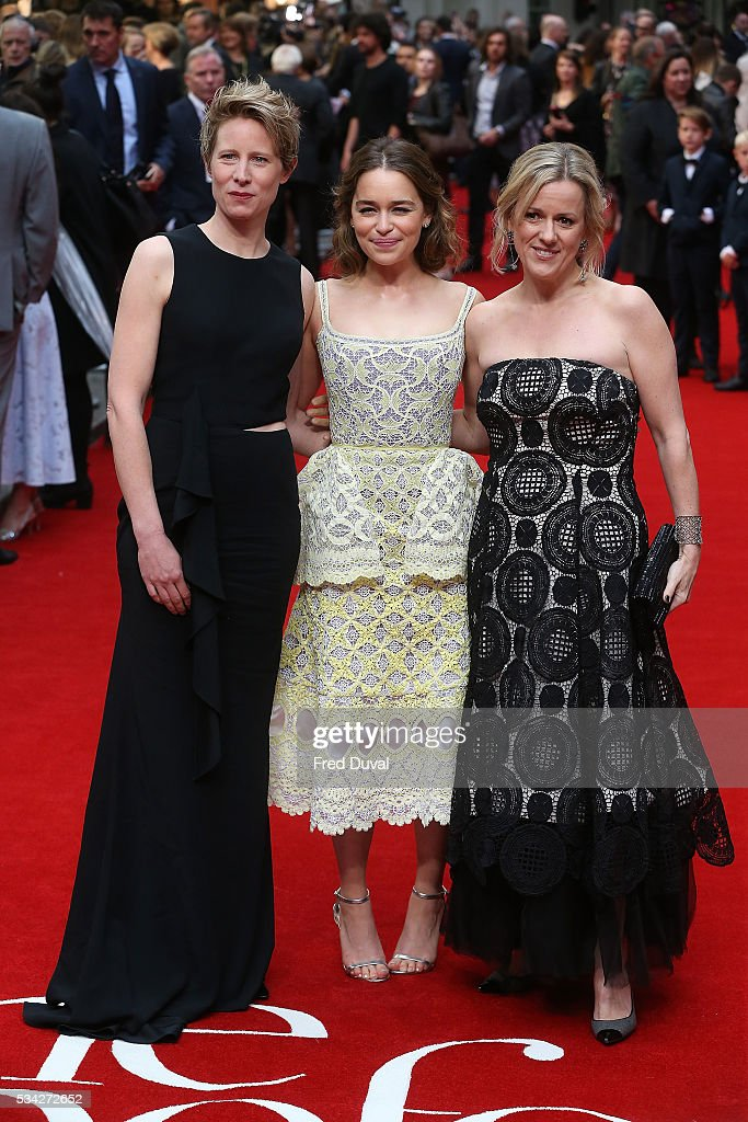 Thea Sharrock, <a gi-track='captionPersonalityLinkClicked' href=/galleries/search?phrase=Emilia+Clarke&family=editorial&specificpeople=7426687 ng-click='$event.stopPropagation()'>Emilia Clarke</a> and Jojo Moyes attend the European film premiere 'Me Before You' at The Curzon Mayfair on May 25, 2016 in London, England.