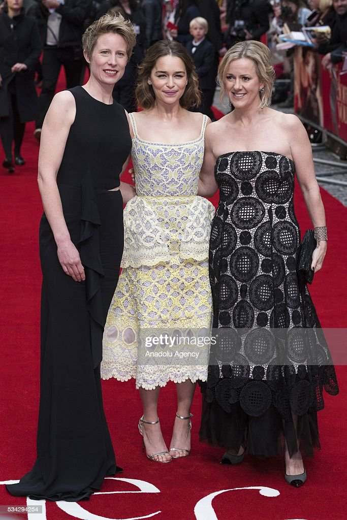 Thea Sharrock (L), Emilia Clarke (R) and Jojo Moyes (R) attend the film premiere of Me Before You in London, United Kingdom on May 25, 2016.