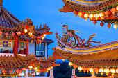 Dusk view of Thean Hou Temple illuminated for the Mid-Autumn festival  in Kuala Lumpur, Malaysia.
