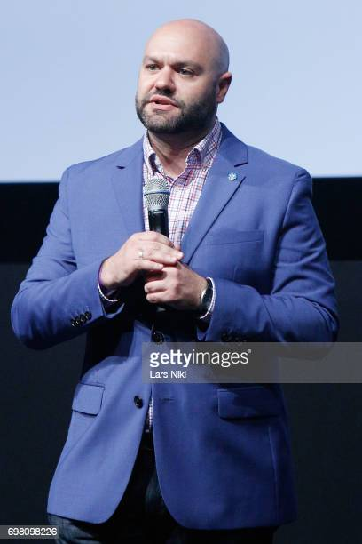 Theater Director Adam Natale addresses the audience during the Cherry Pop Premiere at OutCinema Presented by NewFest and NYC Pride at SVA Theater on...