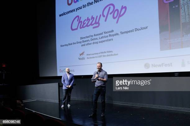 Theater Director Adam Natale and NewFest Executive Director Robert Kushner address the audience during the Cherry Pop Premiere at OutCinema Presented...
