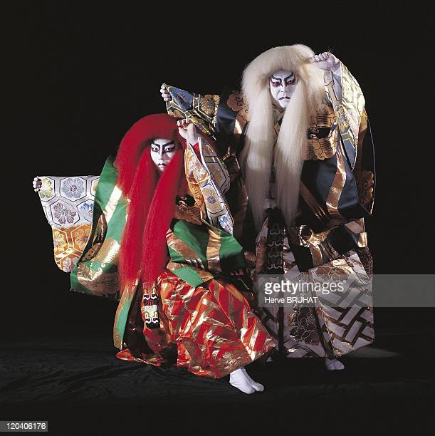 Theater Kabuki Ichikawa Ennosuke Iii in Tokyo Japan in 1997 Ichikawa Ennosuke III and Ichikawa Kamejiro II in Renjishi an essential piece of Kabuki...