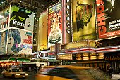 Theater marquees in Times Square, New York City, USA