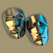 3D modelled metal tragedy and comedy masks