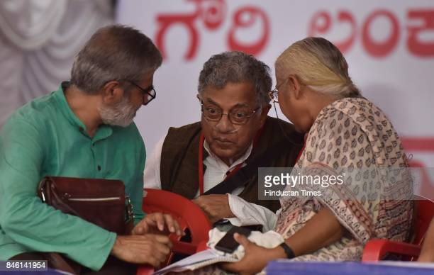 Theater personality Girish Karnad with social activist Medha Patkar participates in a public rally by the Forum against the assassination of Gauri...