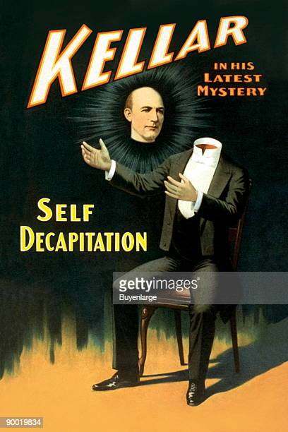 Theater poster showing magician Harry Kellar's body sitting in chair with head floating in midair