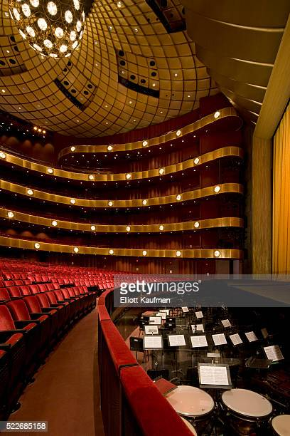 Theater seats and orchestra pit in David H. Koch Theater at Lincoln Center, New York