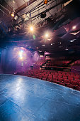 Theater stage with dramatic lighting