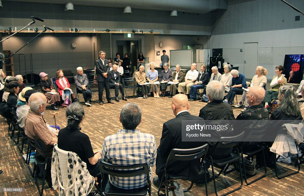 A theater troupe of elderly actors set up by renowned stage director Yukio Ninagawa discusses in Saitama, Japan, on May 27, 2016, whether to continue its activities. The Saitama Gold Theater troupe decided to continue the legacy of Ninagawa, who died at age 80 on May 12, according to the operator of the group.