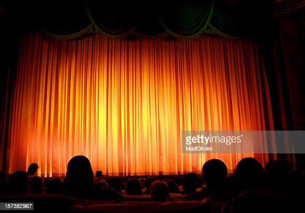 Theater with red curtain