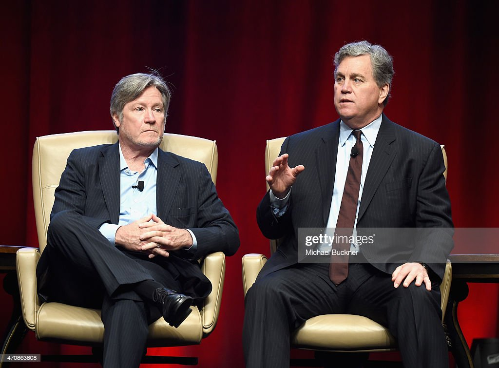 Theaters President of Programming Robert Lenihan and CoChairman of Sony Pictures Classics Tom Bernard speak onstage during CinemaCon's final day...