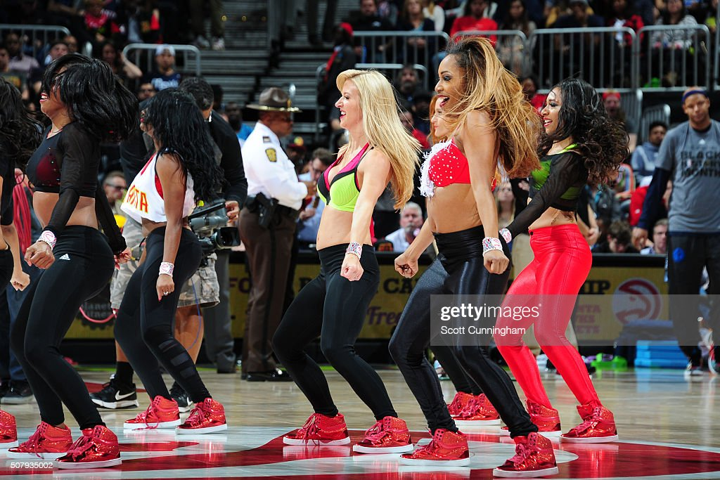 TheAtlanta Hawks dance team is seen during the game against the Dallas Mavericks on February 1 2016 at Philips Arena in Atlanta Georgia NOTE TO USER...