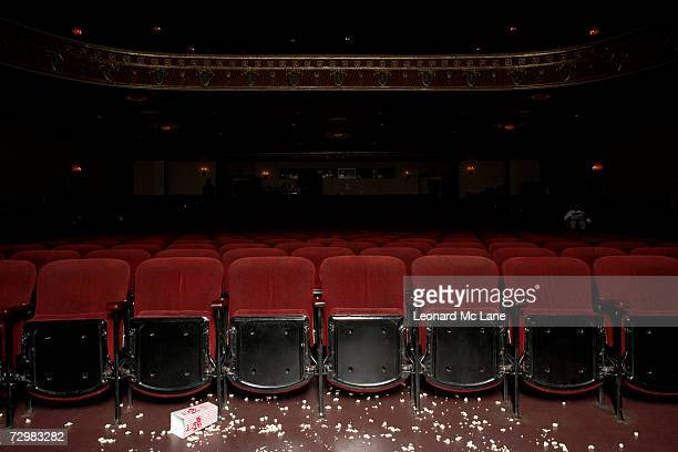Theatre auditorium with popcorn on floor