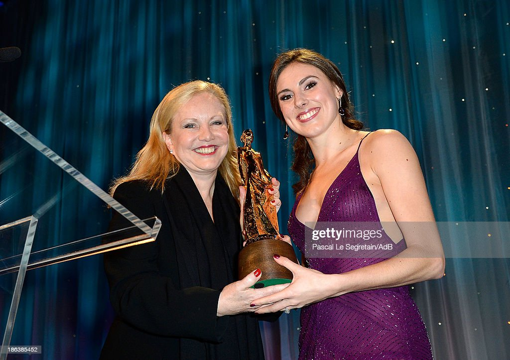 Theatre Director <a gi-track='captionPersonalityLinkClicked' href=/galleries/search?phrase=Susan+Stroman&family=editorial&specificpeople=240441 ng-click='$event.stopPropagation()'>Susan Stroman</a> and dancer Tiler Peck speak onstage at the 2013 Princess Grace Awards Gala at Cipriani 42nd Street on October 30, 2013 in New York City.