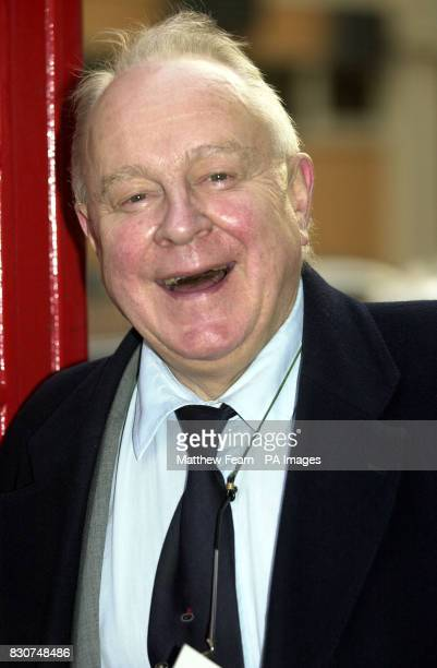 Theatre impressario Ned Sherrin arrives at the Arts Theatre in central London for the memorial service for legendary harmonica player Larry Adler who...