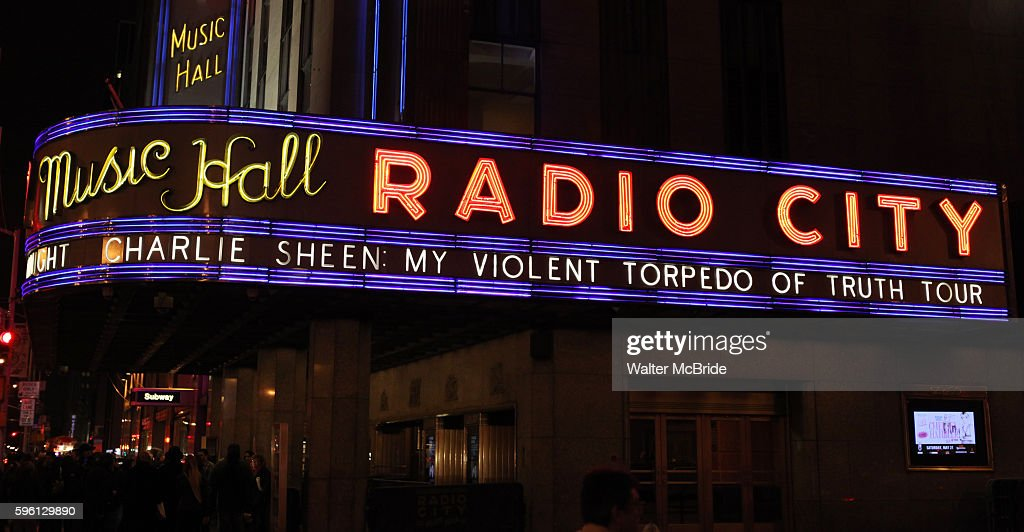 Theatre Marquee Charlie Sheen starring in 'My Violent Torpedo of Truth/Defeat is Not An Option' show at the Radio City Music Hall New York City