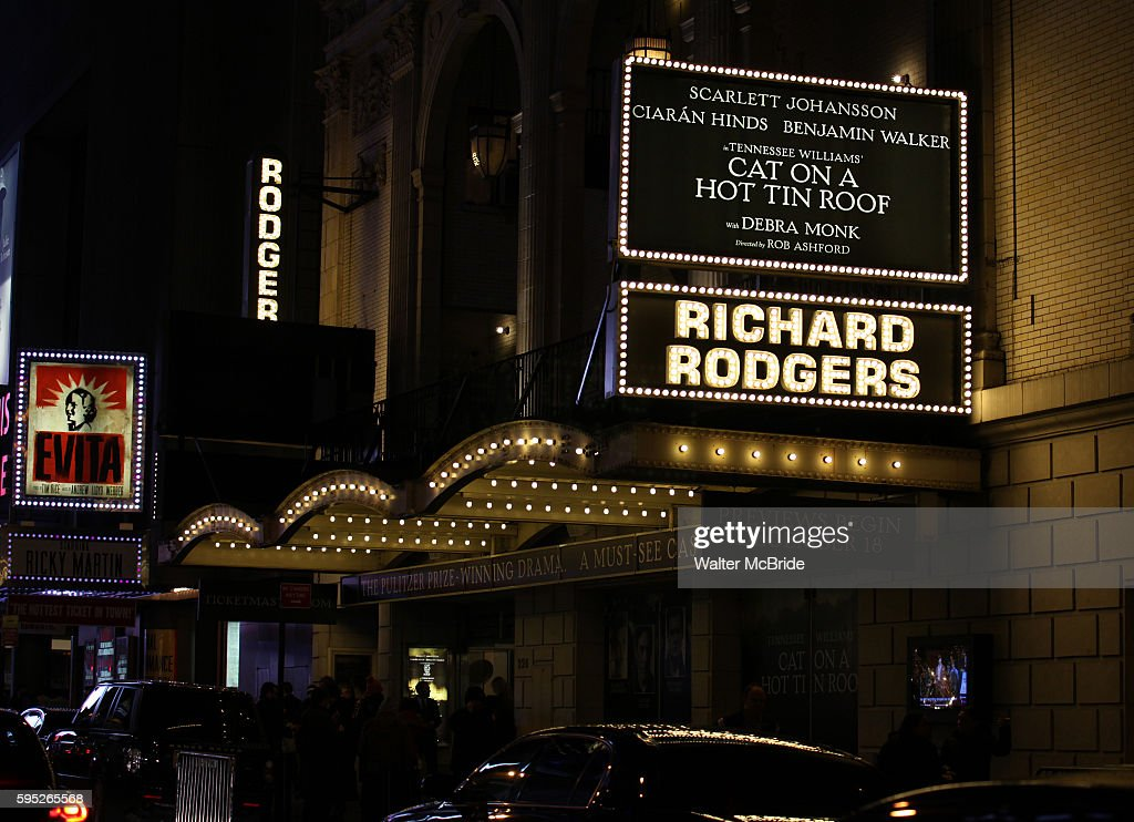 Theatre Marquee during the Broadway Opening Night Performance Curtain Call for 'Cat On A Hot Tin Roof' at the Richard Rodgers Theatre in New York...