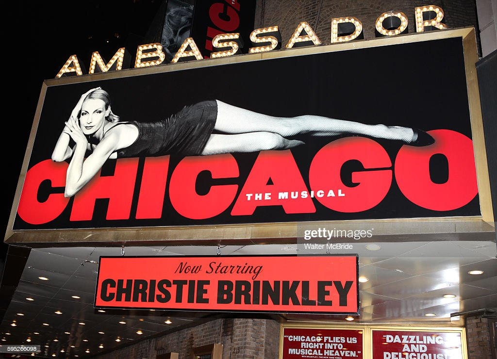 Theatre Marquee during the 'Chicago' Curtain Call as Christie Brinkley makes her Broadway Debut at the Ambassador Theatre in New York City
