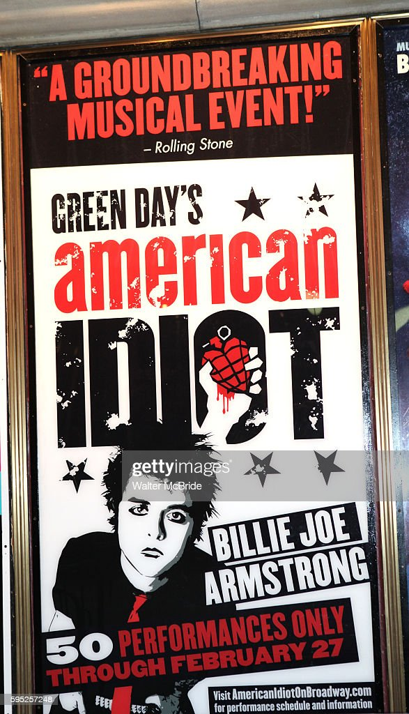 Theatre Marquee for Billy Joe Armstrong staring in in 'American Idiot' for 50 Performances at the St James Theatre in New York City