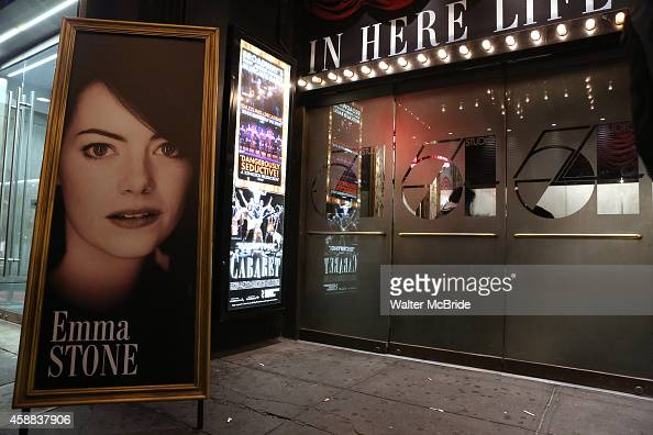 Theatre Marquee for Emma Stone making her debut performance in Broadway's 'Cabaret' at Roundabout Theatre Company's Studio 54 on November 11 2014 in...