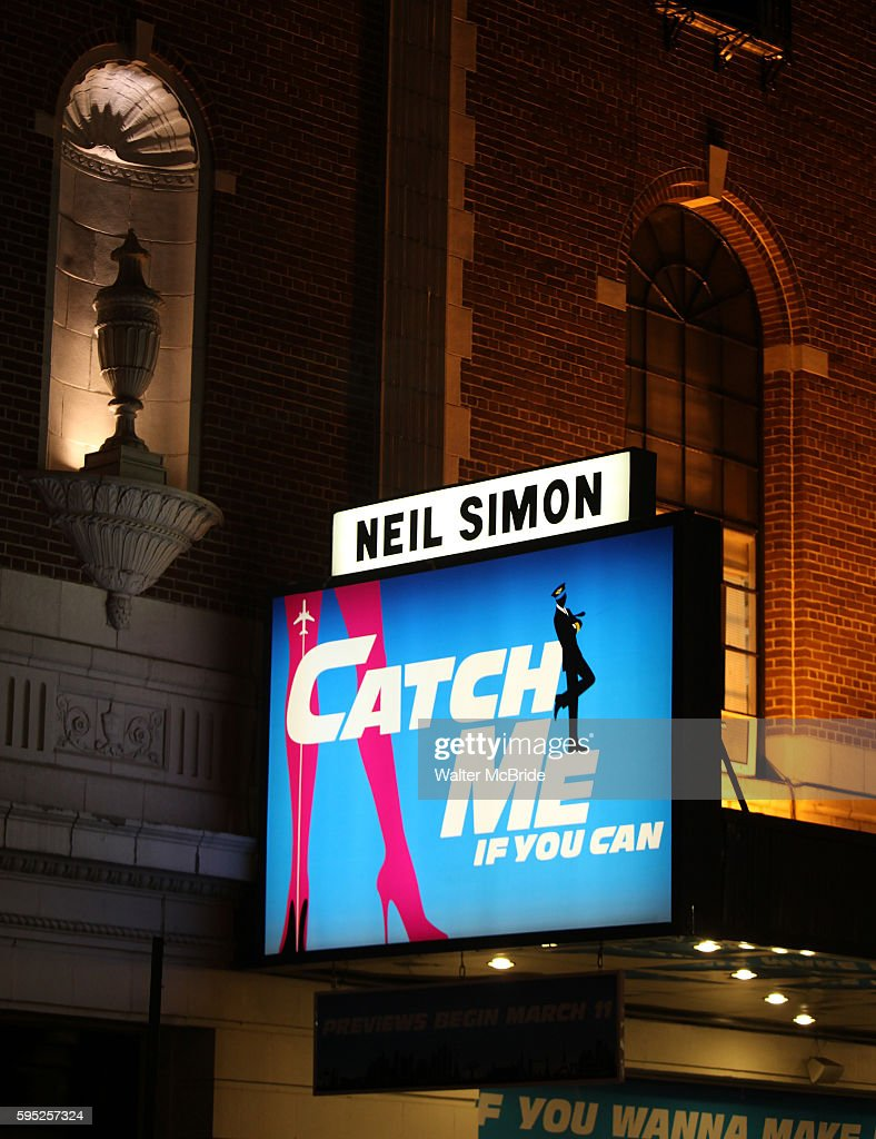 Theatre Marquee for the Broadway Opening Night Curtain Call for 'Catch Me If You Can' in New York City