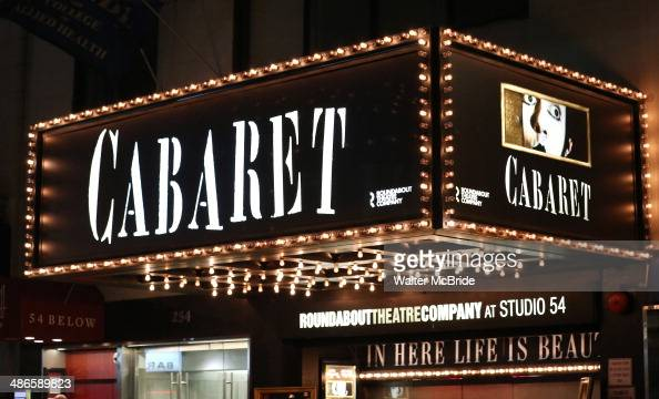 Theatre Marquee for the Broadway Opening Night Performance of 'Cabaret' at Studio 54 on April 24 2014 in New York City